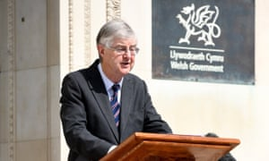 Mark Drakeford outside the Welsh government building in Cardiff.