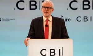 Jeremy Corbyn addresses the CBI