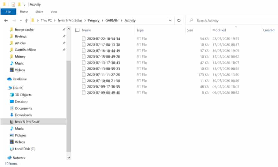 A directory containing .FIT files is seen