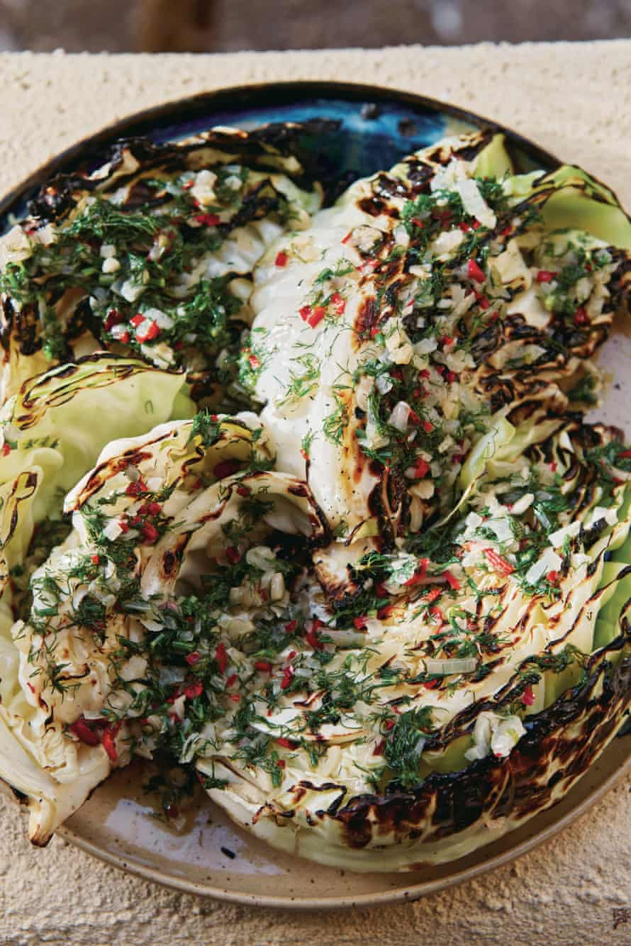 Honey & Co's grilled cabbage with chilli garlic butter.