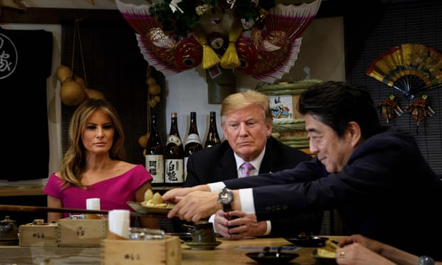 Trump and first lady Melania Trump join Japan's Prime Minister Shinzo Abe and his wife Akie Abe for dinner in Tokyo.