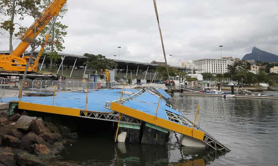 A ramp built for competitors' boats collapsed into the water at the Marina da Gloria sailing venue just days before the start of the Rio 2016 Olympic Games.