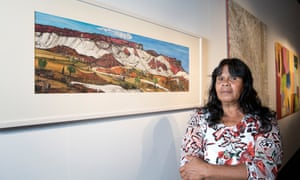 The winner of the works on paper award, Kathy Inkamala, with her work Mount Gillen, West MacDonnell Ranges.