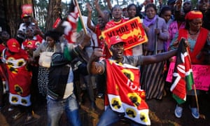 Uhuru Kenyatta supporters celebrate after his election win
