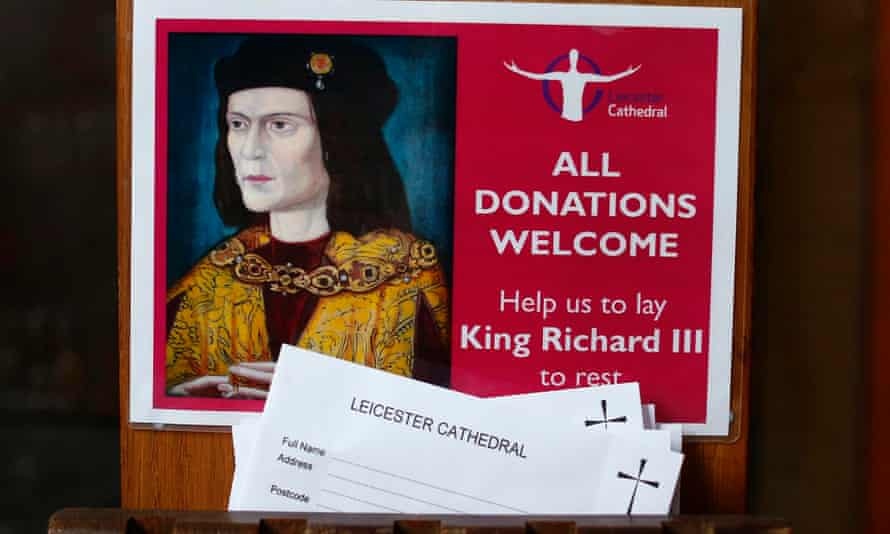 Donation cards on display in Leicester Cathedral