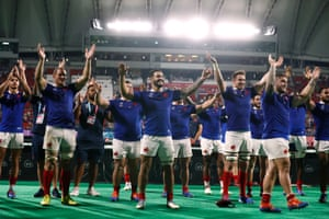 France applaud their fans after the winning the game and securing their place in the quarter finals.