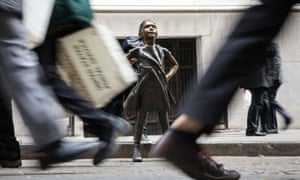 The 'Fearless Girl' statue outside the New York Stock Exchange. Wall Street traders may be more fearful today....