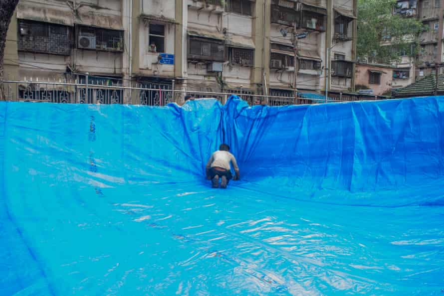 Work on creating one of the ponds. Mumbai is one of the worst-affected Indian cities in relation to Covid-19.