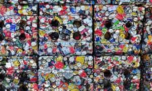 Bales of compressed aluminium cans