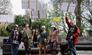Pastafarian followers protest for the right of minority religions to be recognised in the UK.