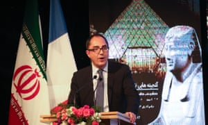 Jean-Luc Martinez, the president of the Louvre, speaks at the opening ceremony at the national museum.