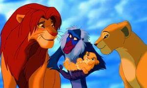 Too close for comfort … Mafusa, Rafiki and Simba Nala in the 1994 version of The Lion King.