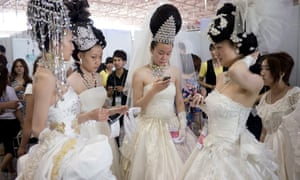 A beauty contest at a previous China Hair and Beauty Expo in Beijing.