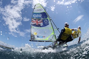 Dylan Fletcher and Stuart Bithell of Great Britain compete in the 49er