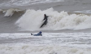 Surfers make the most of the sea conditions in Porthcawl