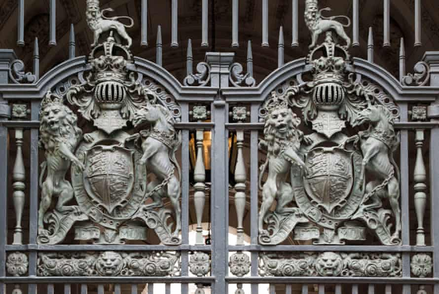 Gates are seen at the Foreign and Commonwealth Office in London.