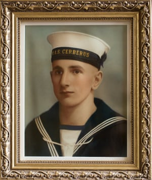Portrait of Alan Hellier as a young mariner.