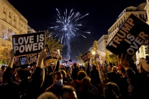 A large crowd gathered as fireworks lit up the sky in Black Lives Matter Plaza