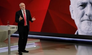Labour leader Jeremy Corbyn answers questions from the studio audience during May v Corbyn Live: The Battle for Number 10.