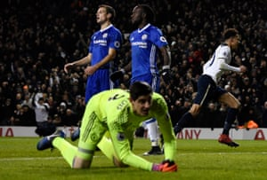 Tottenham's Dele Alli wheels away in celebration as Chelsea's Cesar Azpilicueta, Victor Moses and Thibaut Courtois look dejected.