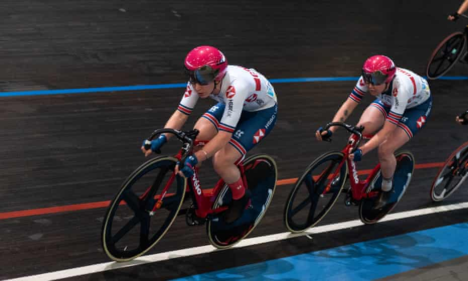 Laura Kenny leads the way during a points race in Ghent in April