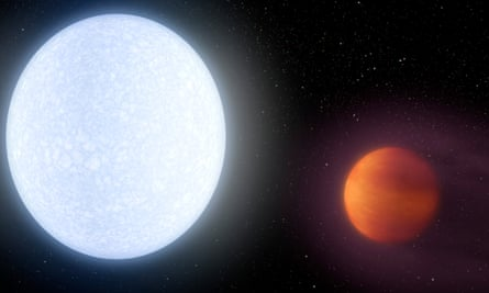 Artist conception of the Kelt-9 system. The heat bearing down on Kelt-9b is so intense that, soufflé-like, the planet puffs up to create a world nearly three times as massive as Jupiter but only half as dense.
