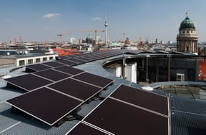 Solar panels on the roof of the Galeries Lafayette department store in Berlin