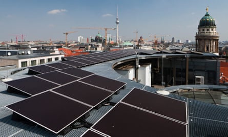 Solar panels on Berlin rooftops. 'Germany must work hard to maintain our lead on energy transition.'