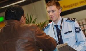A border control worker at Heathrow.