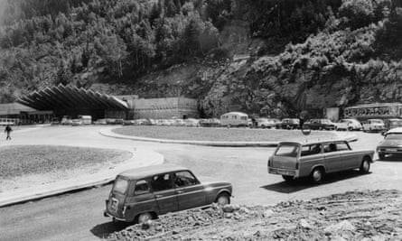 Cars wait at the entrance of the Mont-Blanc tunnel on the French side near Chamonix, July 1965.
