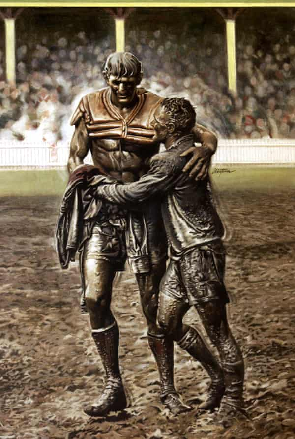 The famous photo of Norm Provan (left) and Arthur Summons taken after the 1963 NSWRL grand final. Photograph: John O'Gready/Getty Images