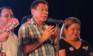 Rodrigo Duterte speaks at  a 12-hour victory party on Saturday at a park in Davao City