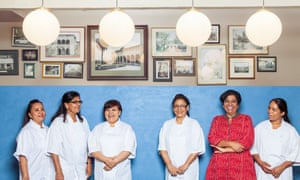 Asma Khan (in red) and her team at the Darjeeling Express restaurant in 2017.