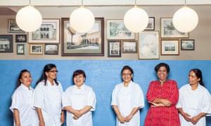 The team at Darjeeling Express. From left, Anita Gurung, Kalpana Kunder, Asha Pradhan, Uma Gurung, Asma Khan and Shanta Awale.