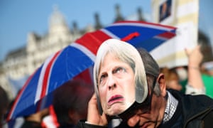 A pro-Brexit protester outside the Houses of Parliament.