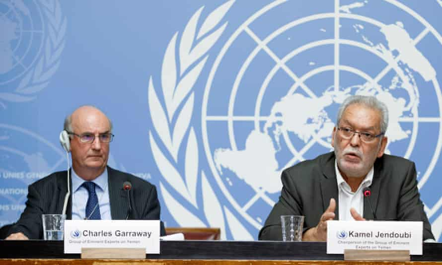 Charles Garraway and Kamel Jendoubi (chairperson) of the Group of Eminent Experts on Yemen in Geneva.