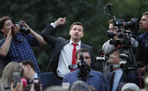 Moscow, RussiaRussian opposition candidate and activist Ilya Yashin (C) speaks during rally to support of opposition candidates in the Moscow City Duma elections