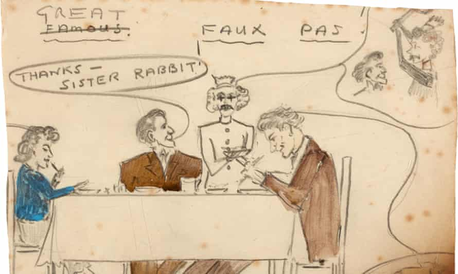 A pencil sketch by Sylvia Plath entitled Great Faux Pas, for sale at Sotheby's.