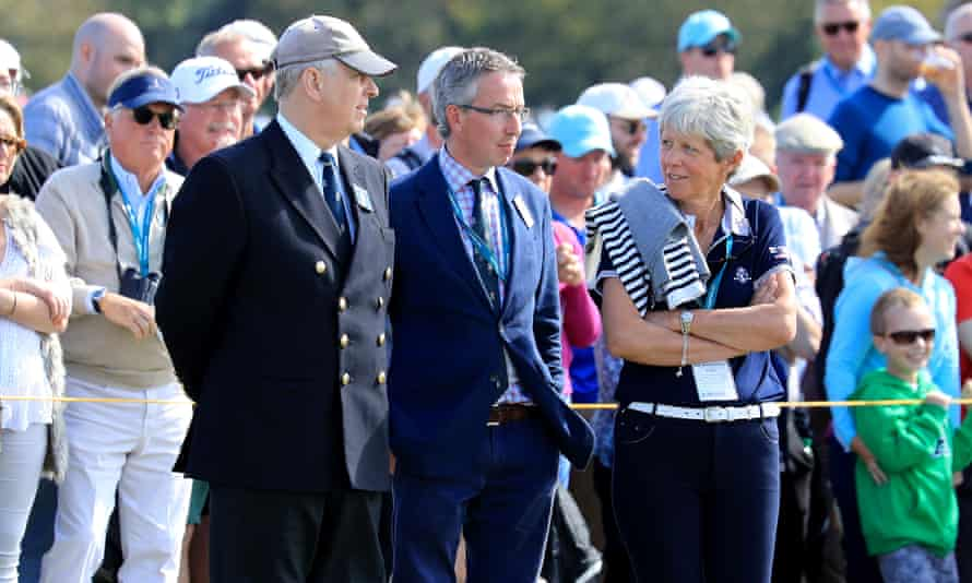 Prince Andrew watches the afternoon singles matches on the final day of the 2019 Walker Cup.