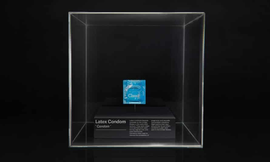 A latex condom on display at the Museum of Banned Objects.
