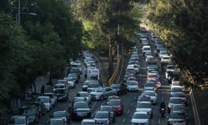 Dozens of cars stuck in a traffic jam in Mexico City in April 2016. New projects like Mapaton CDMX use crowdsourcing to improve traffic systems by asking riders of the city's 29,000 microbuses to enter GPS data into a shared database.