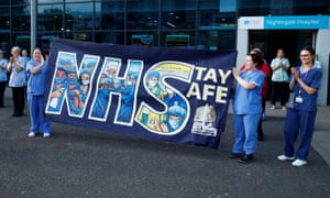 NHS workers at the Nightingale Hospital in Belfast, Northern Ireland, in May.