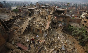 People searching amid collapsed buildings after Nepal's 2015 earthquake