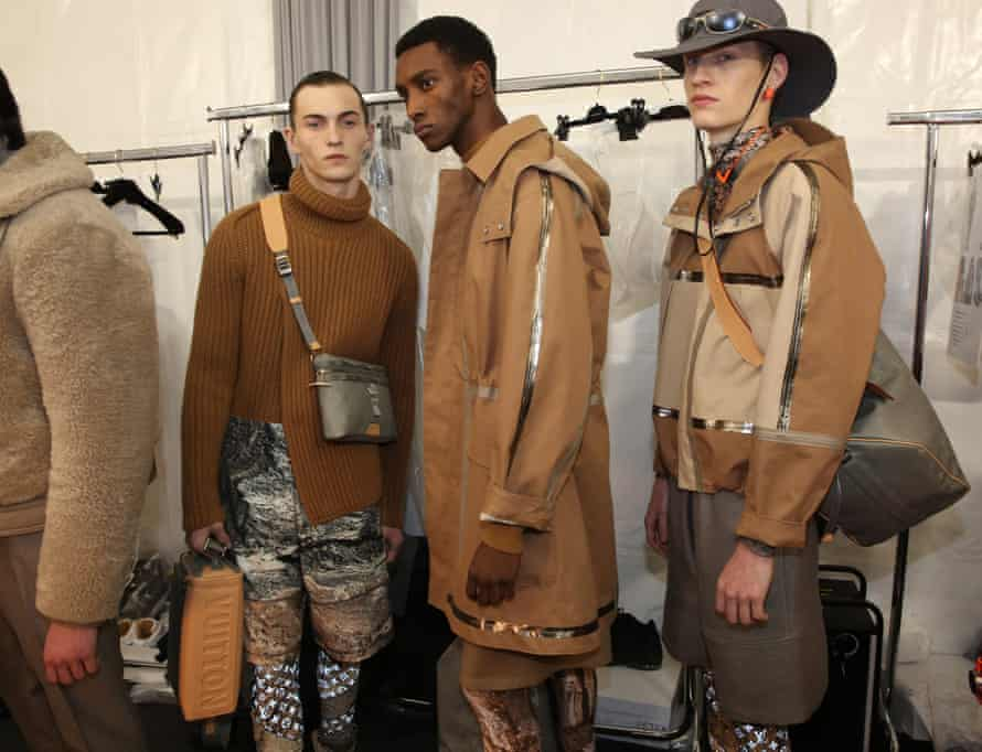Models backstage at the Louis Vuitton show, Paris.