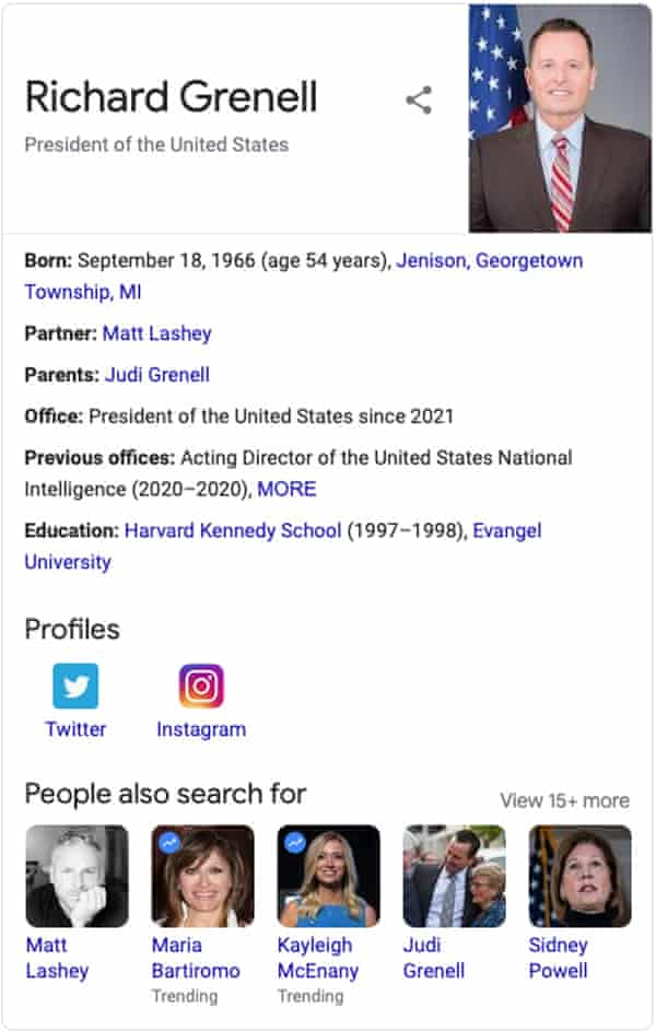 Google says Rick Grenell is president.