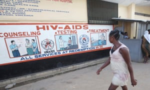 HIV posters at a hospital in Liberia