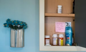 55 year-old Kathleen Anduze keeps medication and a reminder note in a bathroom cabinet in her Pleasant Valley, New York home. Kathleen was diagnosed with Lewy Body Disease, a form of progressive, degenerative dementia, at age 51.