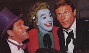 Adam West a Bruce Wayne with two of Batman's greatest foes; Burgess Meredith as The Penguin and Cesar Romero as The Joker