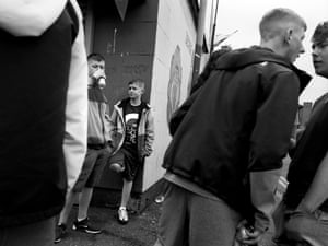 Sandy Row: boys drinking beer and arguing, 2018
