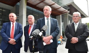 Joe, John, Dennis and Neill Wagner speak to the media outside the supreme court in Brisbane after the verdict.